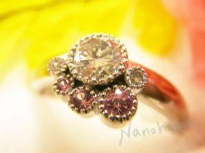 105ダイヤ&ピンクサファイアリング